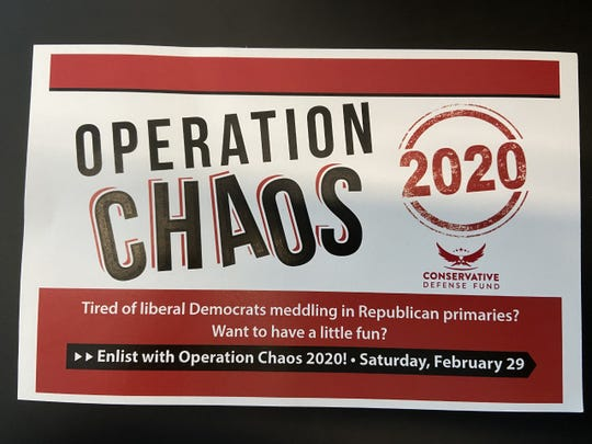 Fliers asking Republicans to cross parties in the presidential primary.