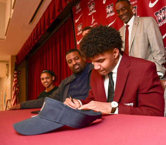 Elijah Harper signed a National Letter of Intent to play football at Charleston Southern University, during a ceremony at Westside High School in Anderson Wednesday, February 5, 2020.