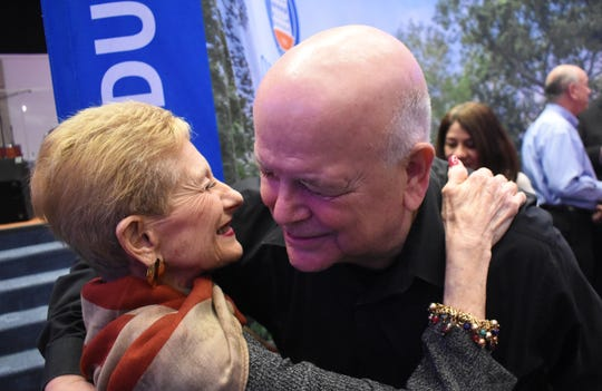 "Jackson Sleet of Alexandria (right) hugs child Holocaust survivor Jeannine Burk after she spoke at the Louisiana College program ""Lost Innocence: Children of the Holocaust."" ""She is so inspiring and shared so truthfully,"" said Sleet."