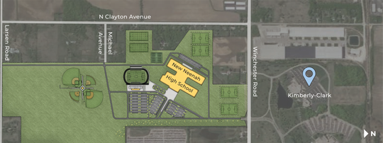 A conceptual drawing shows the location of the proposed Neenah High School in the town of Neenah.