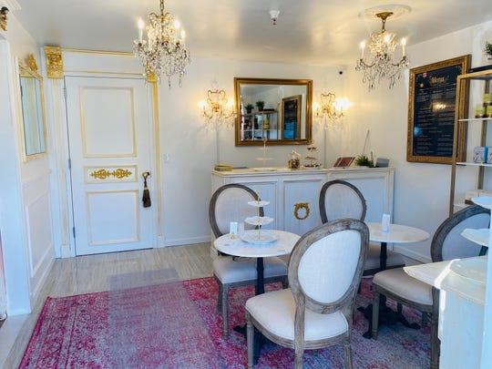 The Parisian Tearoom features interior design and furniture created and constructed by Karen Lozner, owner of the tea room.