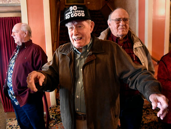 Frank Sheffield reacts after seeing an old friend during a reception for his 90th birthday at the Paramount Theatre Jan. 31. A former longtime manager of the theater, this was Sheffield's second time turning 90 after a mixup about his age for a party last year.