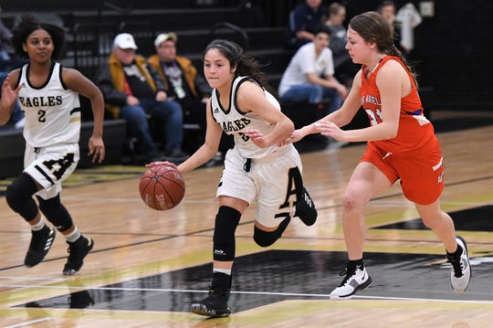Abilene High's Leila Musquiz (3) brings the ball down the court against San Angelo Central at Eagle Gym on Tuesday. The Lady Cats pulled away for a 37-26 win.