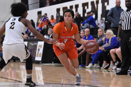 San Angelo Central's Alyssa Barron (3) dribbles past Abilene High's Syncere Reed (2) in Abilene. The Lady Cats pulled away for a 37-26 win.
