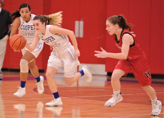 Cooper's Meri Tetaj, center, drives up court after coming up with a turnover as Jennika Willis, left, and a Wichita Falls High defender give chase in the second half. Cooper beat the Lady Coyotes 64-16 in the District 4-5A game Tuesday at Cougar Gym.