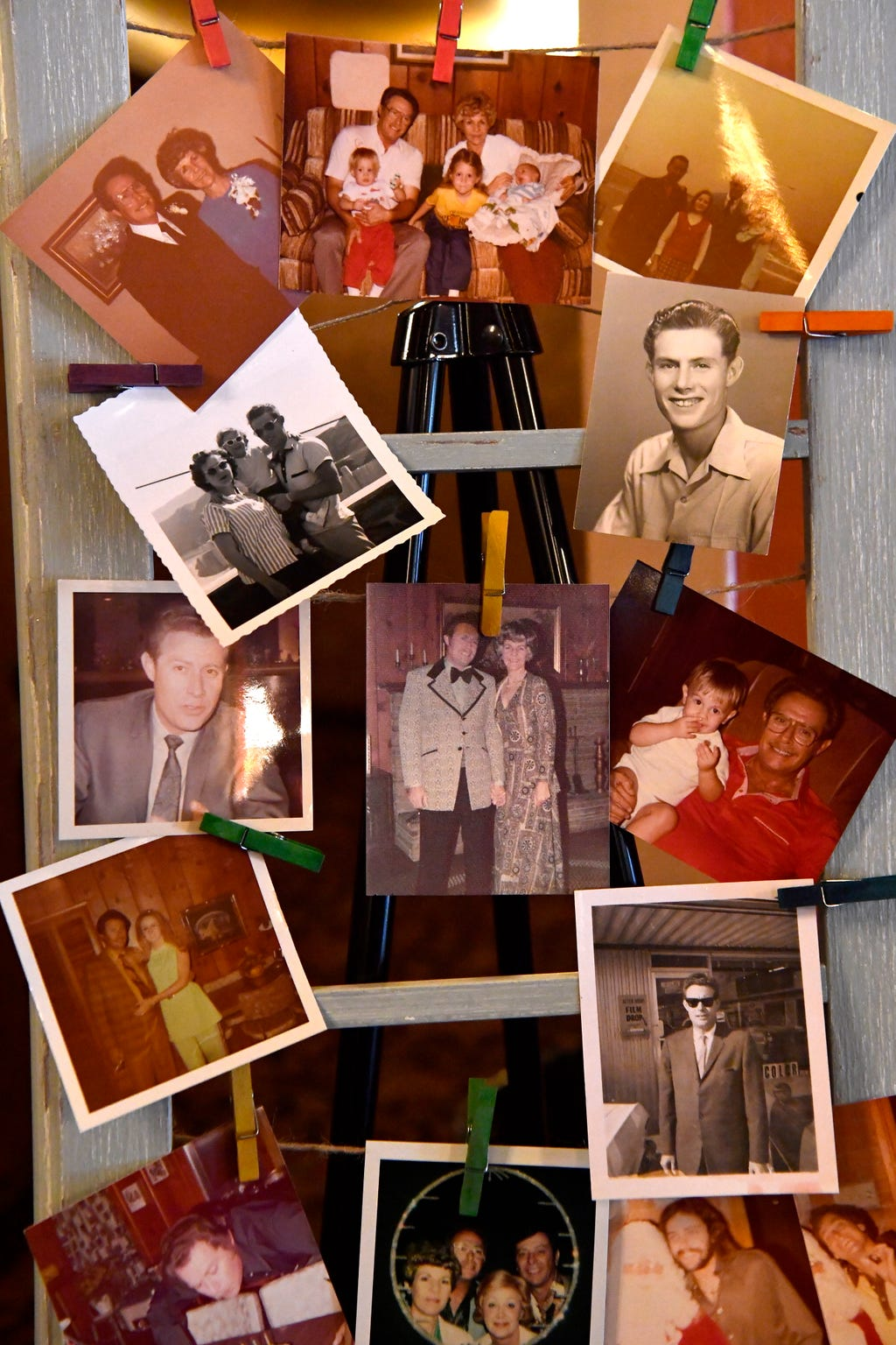 Photographs from Frank Sheffield's life decorate a display in the Paramount Theatre lobby Jan. 31.