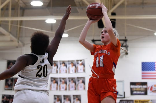 San Angelo Central's Delaney Hester (11) goes up for a shot over Abilene High's Shaliyah Stevenson (20) at Eagle Gym. Hester knocked down a pair of baskets in the 37-26 victory.