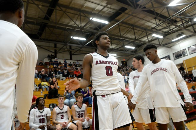 Asheville's Tyrece Thompson is introduced for a game against Reynolds at Asheville High School on Feb. 4, 2020.