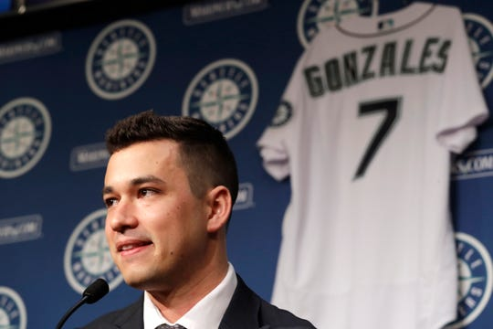 Seattle Mariners pitcher Marco Gonzales speaks at a baseball news conference Tuesday, Feb. 4, 2020, in Seattle. Gonzales and the Mariners agreed to a $30 million contract covering 2021-24, a deal that includes a club option and could be worth $45 million over five seasons. Gonzales is coming off the best season of his career.