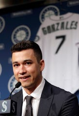 Seattle Mariners pitcher Marco Gonzales addresses a news conference Tuesday, Feb. 4, 2020, in Seattle. Gonzales and the Mariners agreed to a $30 million contract covering 2021-24, a deal that includes a club option and could be worth $45 million over five seasons. Gonzales is coming off the best season of his career. (AP Photo/Elaine Thompson)