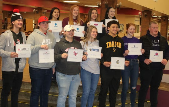South Kitsap athletes gathered for a national letter of intent signing ceremony at the high school on Feb. 5, 2020.