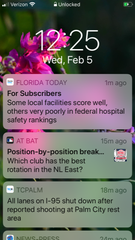 You can select alerts for breaking news, top stories, entertainment, weather, traffic, sports, and business. You also can schedule quiet time for when you don't want to receive alerts.
