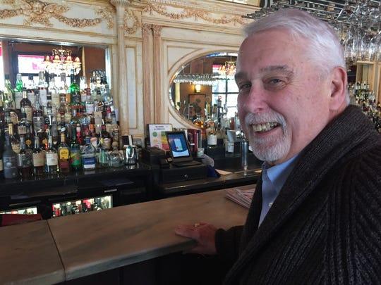 Former Leunig's Bistro owner Bob Conlon sits at the bar of the Burlington restaurant Feb. 5, 2020.