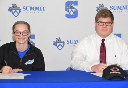 Summit Country Day athletes signed their letters of intent to play college sports. They are, from left: Rachel Martin, who will play basketball at Thomas More University, and Matthew Warden, who will play football at the University of Chicago.