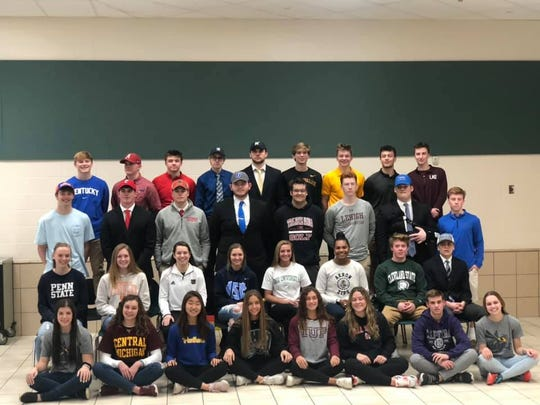 Mason High School had 33 athletes sign their letters of intention to play college sports Feb. 5.