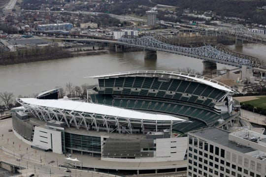 Paul Brown Stadium and the Ohio River as seen from the observation deck of Carew Tower in downtown Cincinnati on Wednesday, Feb. 5, 2020.