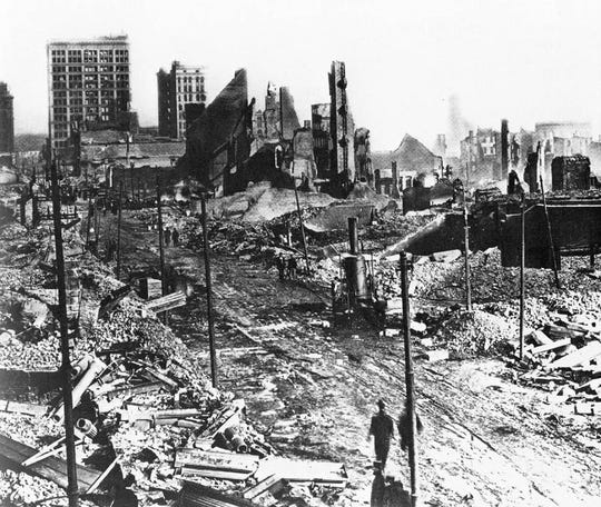 Baltimore was heaviiy damaged in a great fire i 1904.