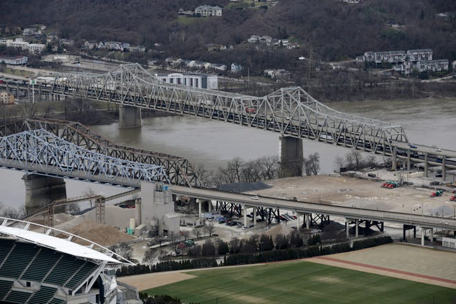 The Brent Spence Bridge as seen from the observation deck of Carew Tower in downtown Cincinnati on Wednesday, Feb. 5, 2020.