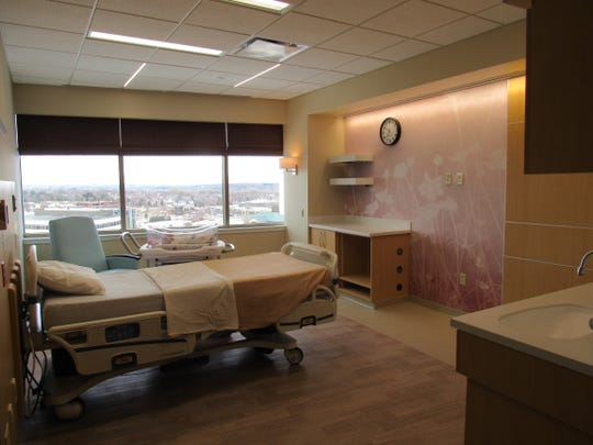 A staged postpartum recovery suite at MercyOne West Des Moines Medical Center, where a maternity unit is under construction and is scheduled to open Oct. 1.