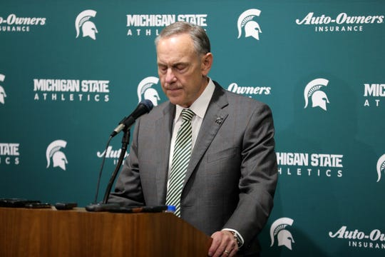 Michigan State coach Mark Dantonio announces his retirement after 13 seasons Feb. 4, 2020, at the Breslin Center in East Lansing.
