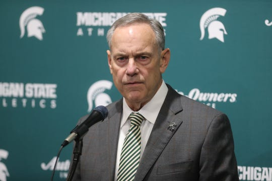 Michigan State coach Mark Dantonio announces his retirement after 13 seasons before the Michigan State vs. Penn State basketball game Feb. 4, 2020, at the Breslin Center in East Lansing.