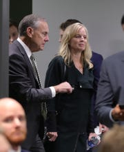 Michigan State coach Mark Dantonio and his wife Becky arrive for the news conference announcing his retirement after 13 seasons Feb. 4, 2020, at the Breslin Center in East Lansing.