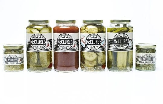 McClures Pickles line up.