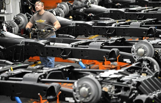 Problems getting parts from Mexico are  preventing GM from starting second shifts to build heavy-duty pickups at Flint Assembly, shown here, and at Fort Wayne, which builds light-duty trucks.