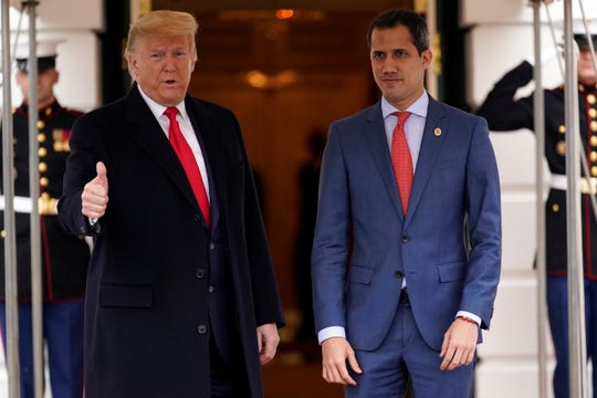 President Donald Trump welcomes Venezuelan opposition leader Juan Guaido to the White House, Wednesday, Feb. 5, 2020, in Washington.
