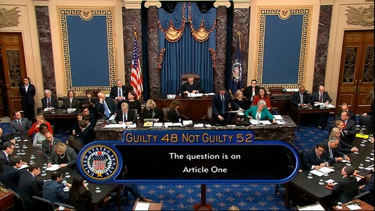 In this image from video, the vote total, 52-48 for not guilty, on the first article of impeachment, abuse of power, is displayed on screen during the impeachment trial against President Donald Trump in the Senate at the U.S. Capitol in Washington, Wednesday, Feb. 5, 2020.