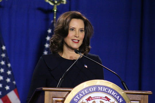Michigan Governor Gretchen Whitmer gave the Democratic party's response to President Donald Trump's State of the Union address on Feb. 4, 2020 at East Lansing High School.