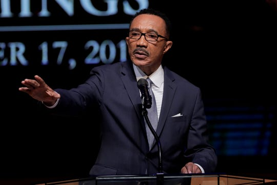 FILE - In a Friday, Oct. 25, 2019 file photo, Kwiesi Mfume, board chairman of Morgan State University, speaks during funeral services for Rep. Elijah Cummings, in Baltimore.