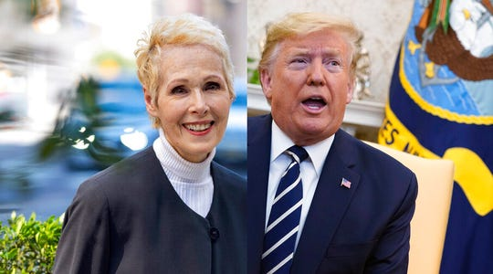 E. Jean Carroll , left, and President Donald Trump.