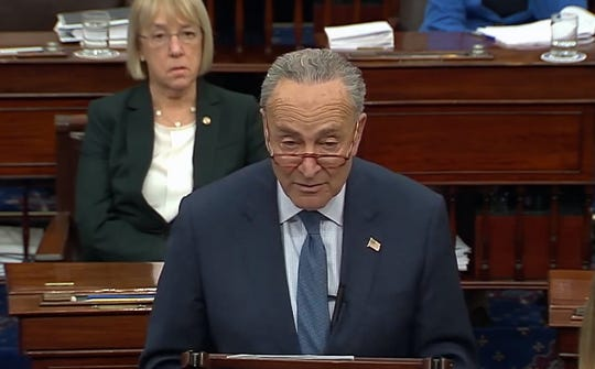 Sen. Charles Schumer, D-NY addresses the Senate before the final vote on articles of impeachment on Wednesday, Feb. 5, 2020.