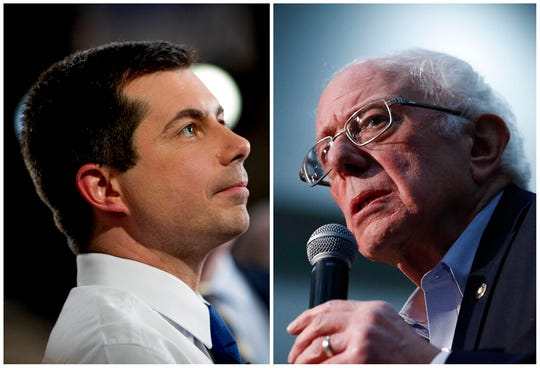 This combination of Jan. 26, 2020, photos shows Mayor Pete Buttigieg, left, in Des Moines, Iowa; and Sen. Bernie Sanders, I-Vt., in Sioux City, Iowa. After a daylong delay, partial results from Iowa's Democratic caucuses showed Buttigieg and Sanders ahead of the pack.