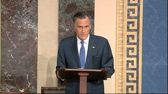 Sen. Mitt Romney, R-Utah, speaks on the Senate floor about the impeachment trial against President Donald Trump at the U.S. Capitol in Washington, Wednesday.