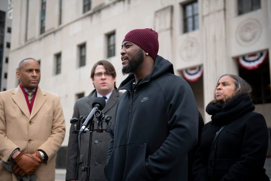 Robert Reeves speaks about his experience having his vehicle impounded despite not committing a crime during a press conference by the Institute for Justice in front of the Theodore Levin U.S. Courthouse, in Detroit, February 5, 2020. The institute announced a class action lawsuit to ask for the end of civil forfeiture in Wayne County.