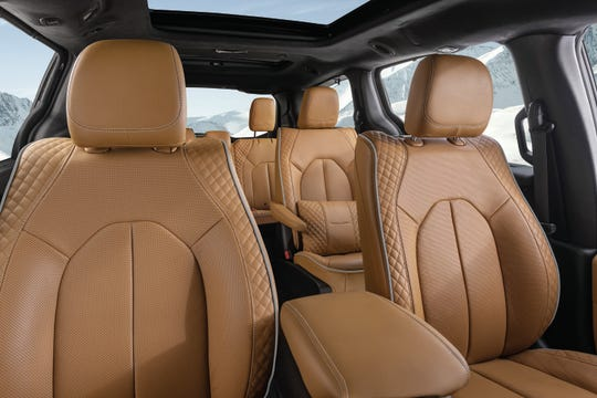 The new 2021 Chrysler Pacifica Pinnacle model offers the most luxurious interior in its class,with Caramel Nappa leather seats featuringquilted seat side bolsters and perforated seat inserts and seat backs on all three rows.