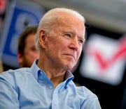 Democratic presidential candidate former Vice President Joe Biden attends a campaign stop at the South Slope Community Center, Saturday, Feb. 1, 2020, in North Liberty, Iowa.