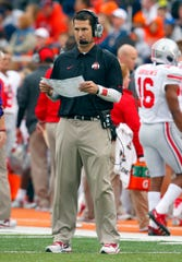 Luke Fickell coaches at Ohio State as defensive coordinator in 2013.