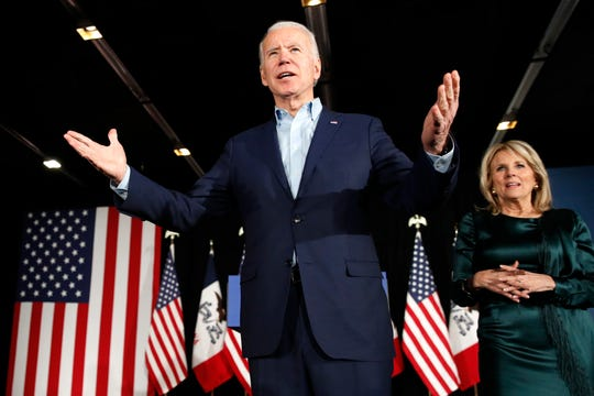 Democratic presidential candidate former Vice President Joe Biden at a caucus night campaign rally on Monday, Feb. 3, 2020, in Des Moines, Iowa, with Jill Biden.