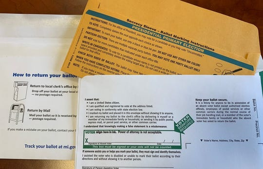 Some Michigan voters already have absentee ballots in their hands for Michigan's March 10 presidential primary. This is an example of what the envelope carrying the ballot looks like.