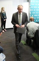 Michigan State University football coach Mark Dantonio announces his retirement at the Breslin Center.