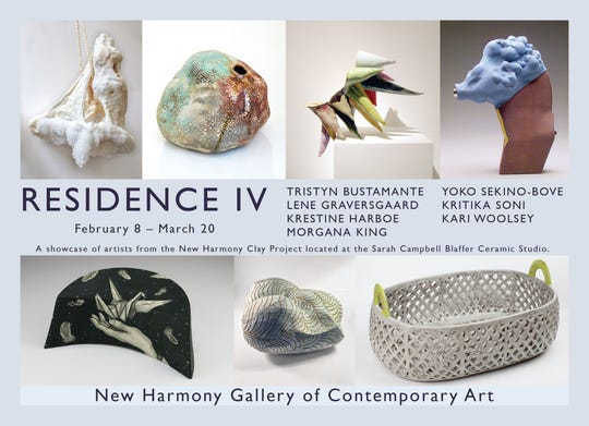 Residence IV is celebrating its opening with a reception Saturday at the New Harmony Gallery of Contemporary Art featuring the work of artists from the New Harmony Clary Project.