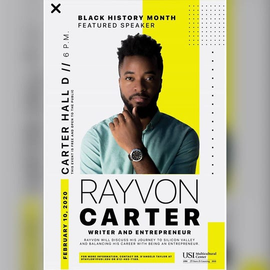 Writer and entrepreneur Rayvon Carter is a black history month featured speaker at USI Monday.