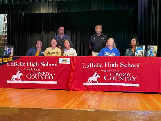 LaBelle softball player Chloe Horton signed with Averett University and Mykala Cox signed with Bryant & Stratton.