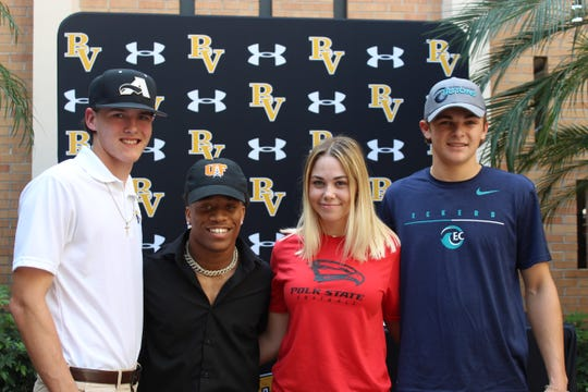 Bishop Verot had four athletes sign National Letters of Intent Wednesday, including Alex Maurer to Anderson University, Tequon Chatman to University of Findlay, Ohio, Alexis Hollinger to Polk State and Christian Kearns to Eckerd.