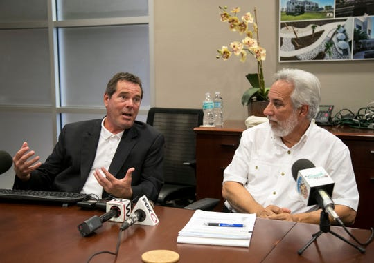 Margaritaville developer Tom Torgerson, left, and John Gucciardo speak about the approved Fort Myers Beach resort in a news conference on Wednesday, Feb. 5, 2020, in Fort Myers.