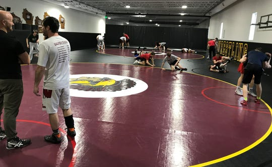 Students practice in the new wrestling room at the Luxemburg-Casco School District.