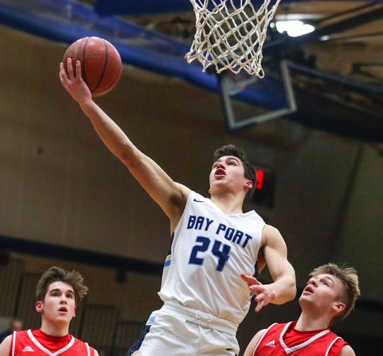 Bay Port senior guard Logan Geissler (24) will play for Michigan Tech next season.